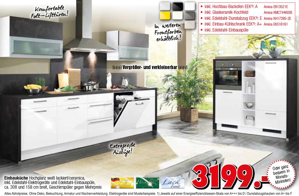Amica Kühlschrank Mint : Küche mit elektrogeräten und geschirrspüler. küche gelb weiß modern